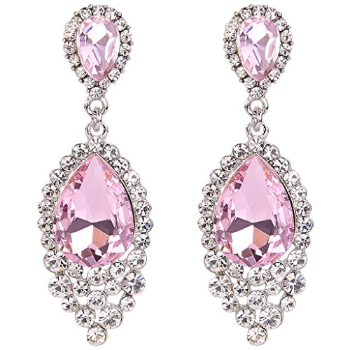 BriLove Women's Wedding Bridal Crystal Teardrop Cluster Beads Chandelier Dangle Pierced Earrings Pink Tourmaline Color Silver-Tone (Earrings Teardrop Cluster)