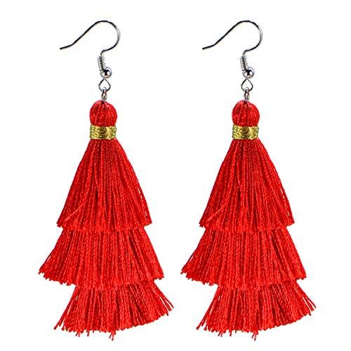 AD Beads Fashion Charm Crystal Silk Tassel 3 Layers Fan Fringe Dangle Earrings (24 Red)