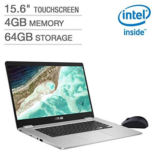"2019 Asus Chromebook Laptop Computer, 15.6"" FHD Touchscreen Thin and Light, Intel Quad-Core Pentium N4200 up to 2.5GHz, 4GB DDR4 RAM, 64GB eMMC, 802.11ac WiFi, Bluetooth 4.0, USB 3.1, Chrome OS"