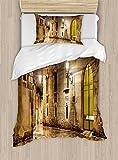 Ambesonne Gothic Duvet Cover Set Twin Size, Gothic Ancient Stone Quarter of Barcelona Spain Renaissance Heritage Night Street Photo, Decorative 2 Piece Bedding Set with 1 Pillow Sham, Cream