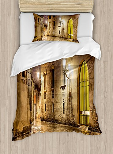 Ambesonne Gothic Duvet Cover Set Twin Size, Gothic Ancient Stone Quarter of Barcelona Spain Renaissance Heritage Night Street Photo, Decorative 2 Piece Bedding Set with 1 Pillow Sham, Cream by Ambesonne