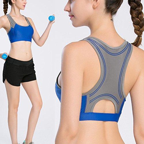 Zhhlaixing Women's Deportes Yoga Bra Running Fitness Aerobics Exercise Tank Tops Blue