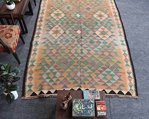 HeSamCrafts Hand Knotted Faded Beige Green Wool Area Rug (5'10