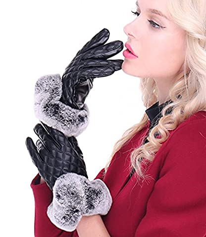 T Wilker Women's Touchscreen Texting Driving Gloves Winter Warm Outdoor Glamour Gloves Sensitive Touch Leather Gloves with Fur Cuff - Fur Leather Gloves