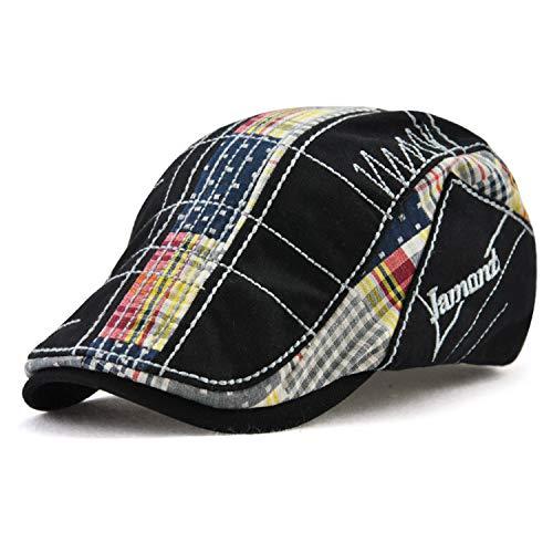 Men Beret Hat Cotton Buckle Adjustable Newsboy Hats Cabbie Gatsby Cap,Black T3