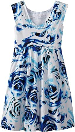Rare Editions Big Girls' Plus Size Floral Print Woven Dress, Blue/White, 10.5