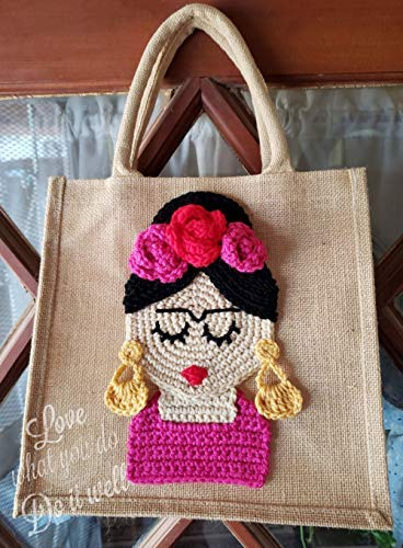 Crochet Portrait - Frida Kahlo Tote Bag Crochet Portrait Eco Friendly Market Bag