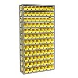 13 Shelf Steel Shelving with (96) 4''H Plastic Shelf Bins, Yellow, 36x12x72