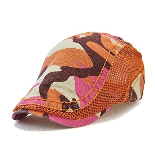 FayTop Men's Women's Newsboy Cap Ivy Irish Flat Hat Cabbie Scally Cap Cabbie Driving Caps Hats 8712-orange