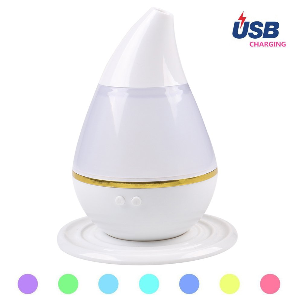 Mini USB Charging Ultrasound Atomization Humidifier Water Droplets Aromatherapy Humidifier Atomizer Car/Office/Room Air Purifier - with Colorful Gradient Light