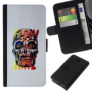 All Phone Most Case / Oferta Especial Cáscara Funda de cuero Monedero Cubierta de proteccion Caso / Wallet Case for LG OPTIMUS L90 // Skull Wow Time Grey Black Red Yellow