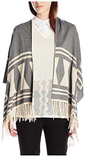 Love Token Women's Dina Knit Poncho, Grey/Ivory, XS/S