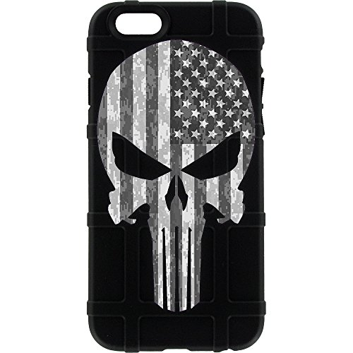 EGO Tactical Limited Edition Design UV-Printed onto a MAG452 Field Case Compatible with Apple iPhone 5, 5s & SE Black, Punisher B/W USA Flag ()