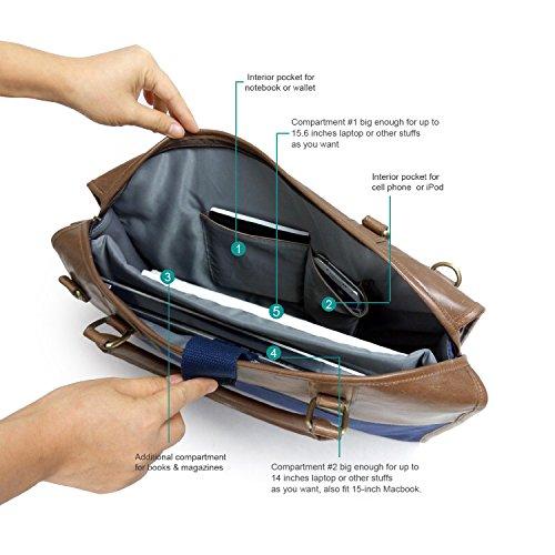Lavievert algodón de la lona y el bolso de hombro del bolso / de cuerpo de la cruz de la vendimia loco caballo de la PU portátil de cuero y bolso 2 en 1 / portátil Ultrabook acolchado caja de la table