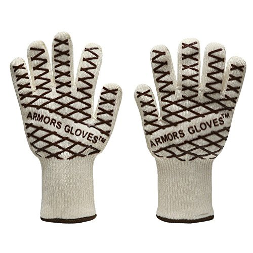 Revolutionary Oven Gloves 350℃(640℉) Extreme Professional Flexible Heat Flame Resistant Kitchen Gloves,Kpaco Light-Weight Barbecue Gloves Hot Surface Handler (PAIR) - Coffee (Toaster Oven Cookbook For One compare prices)