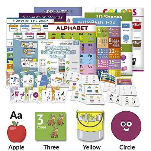 Little Champion Reader Teach Core Vocabulary Toddler Learning Kit 1 - Learn Alphabet, Letters, Number 1-20, Shapes (2D & 3D), Colors, 7 Weekdays, 12 Months, Question Words and Opposite Pairs (7-in-1)
