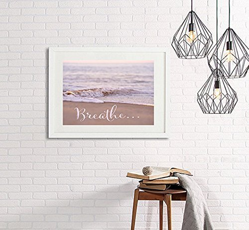 Breathe Wall Art Decor, Inspirational Print Wall Art, Beach Photography, Pink Ocean Artwork, Coastal Wall Art, Nautical Bathroom or Bedroom Decor, Meditation Room Art