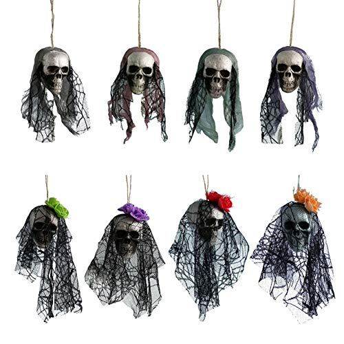 Leezo Halloween Skull Decorations Scary Hanging Ghost Head with Lace and Flowers Simulation Foam Skeleton Skull Ornaments for Halloween Party Haunted House 8 Pcs ()