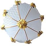 Decorated Bridal Shower Wedding White Lace Umbrella Parasol 36'' Gold Roses