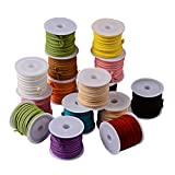 Pandahall 25 Rolls Mixed Faux Suede Cord Lace Bracelet Craft Jewelry Making Faux Suede Cord String Thread 5.5yard/roll