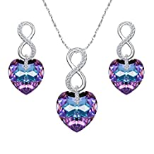 Ever Faith 925 Sterling Silver CZ Figure 8 Infinity Love Heart Pendant Necklace Earrings Set Adorned with Crystals from Swarovski®