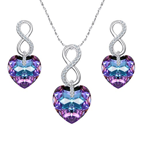 EVER FAITH 925 Sterling Silver CZ Infinity Heart Jewelry Set Purple Adorned with Swarovski Crystals ()