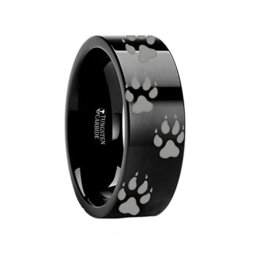 Thorsten Wolf Track Prints Animal Tracks Wolf Print Black Flat Tungsten Ring 10mm Wide Wedding Band from Roy Rose Jewelry