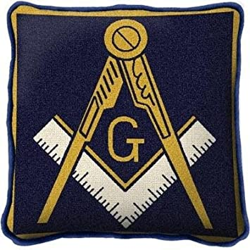 Pure Country Weavers Masonic Emblem Hand Finished Woven Pillow Made in The USA. Size 17 x 17 Woven to Last a Lifetime