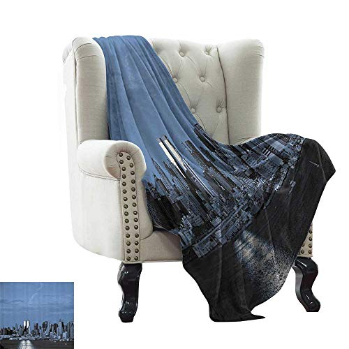 Urban,Throw Blankets for Couch New York City Skyline Panorama Nighttime Riverscape Building Modern Metropolis 90