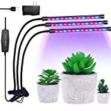 LED Grow Light Lamp, ADSM 3 Head 54 LEDs Timing Clip Dimmable Grow Lights for Indoor Plants with Red/Blue Full Spectrum, Adjustable Gooseneck, 3 Switch Modes Light Bulbs