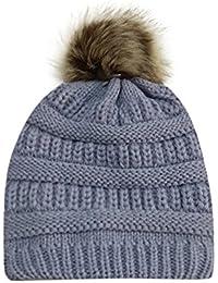 3b488308ba209 Women Winter Warm Crochet Knit Faux Fur Pom Pom Beanie Hat Cap hat