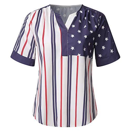 Sumen Women American Flag Shirt Independence Day Short Sleeve Hem Split T Shirt Black