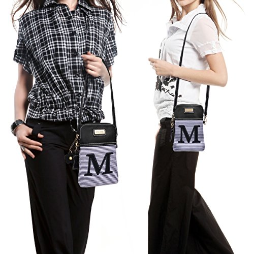 inOne with Phone Letter Women Leather White Handbag Stripe M Cell PU Bag Canvas Black Purse Crossbody Monogram HpnzH4A
