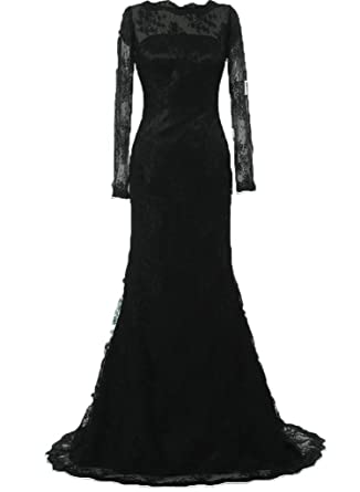 JAEDEN Lace Mermaid Evening Dresses with Long Sleeves Prom Dress Black US2
