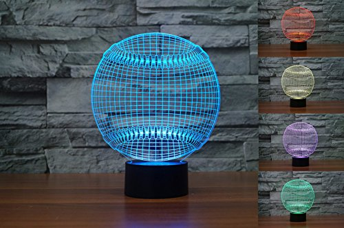 3D Baseball Hat Night Light Touch Table Desk Optical Illusion Lamps 7 Color Changing Lights Home Decoration Xmas Birthday Gift