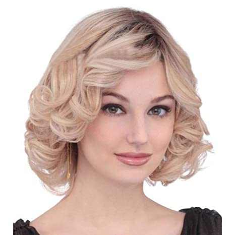 Amazon Com Wig Woman Gradient Color Short Curly Hair Party
