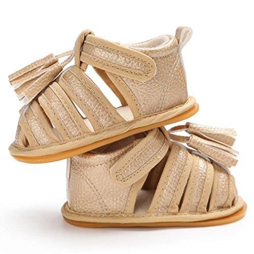 Igemy 1 Paar Baby Kleinkind Sommer Mädchen Jungen Krippe Quasten Schuhe Soft Sole Neugeborenen Anti-Rutsch Turnschuhe Sandalen Gold
