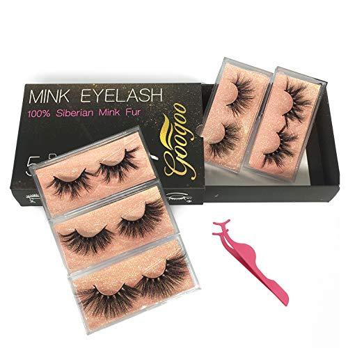 GOO GOO False Eyelashes, 3D Mink Eyelashes 25mm Dramatic Long 5 Styles Crossed Cluster 100% Siberian Mink Fur Eyelashes…