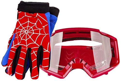 Typhoon Youth Glove & Goggle Combo Motocross ATV Dirt Bike - Blue Red Spiderman - ()