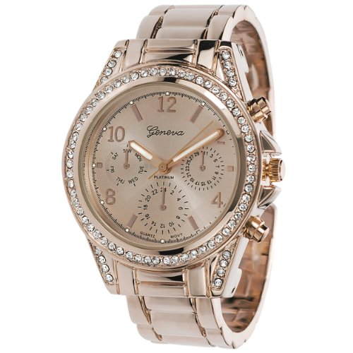 Studded Cuff Watch (GP by Brinley Co. Womens Rose Goldtone Rhinestone Accent Cuff Watch)