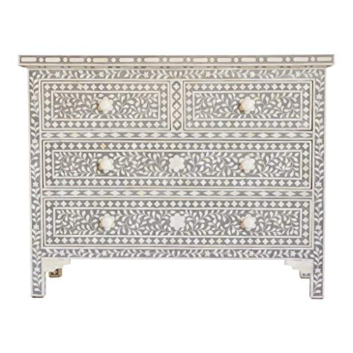 Traditional Handmade Bone Inlay Chest of 4 Drawers in Soft Dove Grey