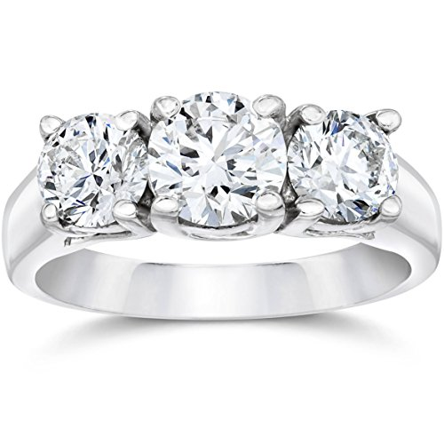 1 3/8ct Three Stone Diamond Ring 14K White Gold - Size 5