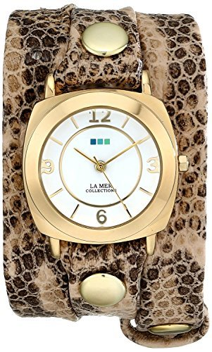 La Mer Collections Women's LMODY3005 Odyssey Stainless Steel Watch with Snakeskin Leather Wrap Band Collection Brown Dial
