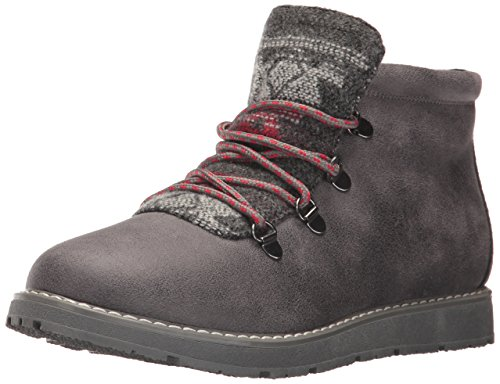 Skechers BOBS Women's BOBS Alpine-Keep Trekking. Aztec Tongue w Memory Foam. Hiking Boot, Charcoal, 7.5 M US (Alpina Alpine Boot)