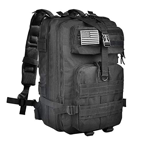 (NOOLA Military Tactical Army Backpack 3 Day Pack Molle Bag Backpack Rucksacks for Outdoor Hiking Camping Trekking Hunting with Flag Patch Black)