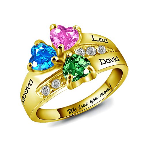 Noonan. Grandma Ring 3 Stones Name Ring Personalized Gold 3 Heart Birthstone Ring Custom Engraved Mothers Ring Lovers Ring ()