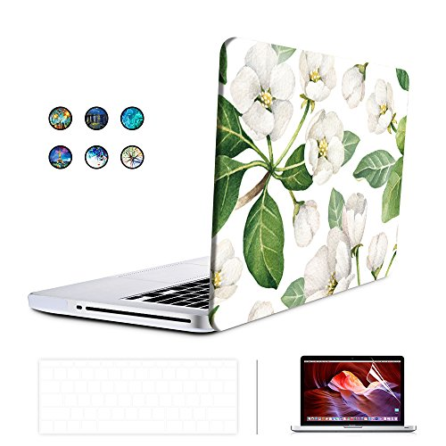 SUNKY MacBook Pro 13 inch Retina Case, Hard PC Snap-on Rubberized Soft-Touch Cover Keyboard Skin HD Screen Protector (A1502 A1425) for MacBook Retina Display 13 inch(NO CD-ROM Drive) - White Flower by Generic