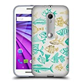 Official Cat Coquillette Fish Inkings Turquoise Gold Sea 2 Soft Gel Case for Motorola Moto G (3rd Gen)