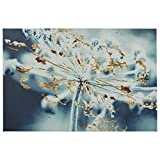 Turquoise Blue and Gold Metallic Flower Duotone Photo Print, 45'' x 30''