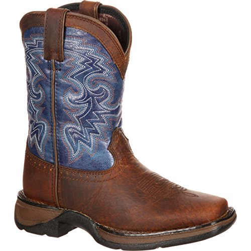 Durango Unisex DWBT052 Western Boot, Dark Brown/Blue, 13.5 M US Little ()